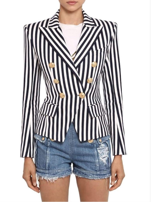 DOUBLE BREASTED STRIPPED BLAZER