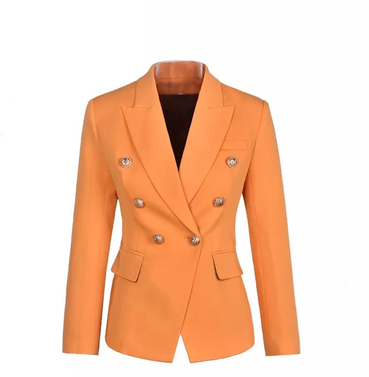 ORANGE YELLOW WITH GOLD BUTTON BLAZER