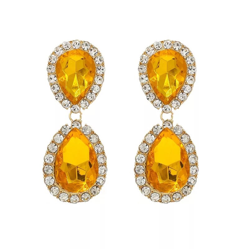 IONA DROP SHAPED MUSTARD COLOUR CRISTAL EARRINGS