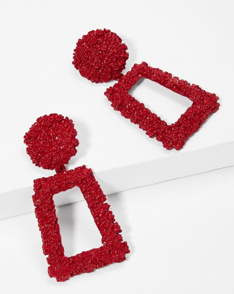 ANTALYA RED RECTANGULAR DROP EARRINGS