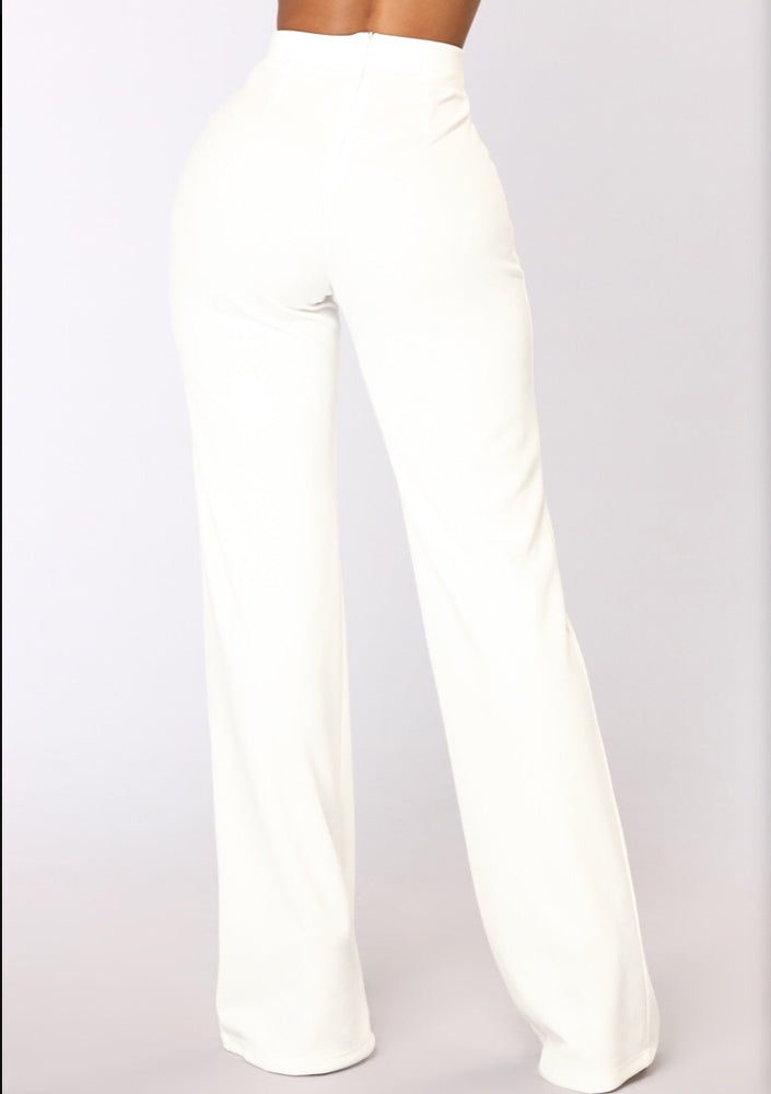 VALERIE HIGH WAISTED WHITE TROUSER