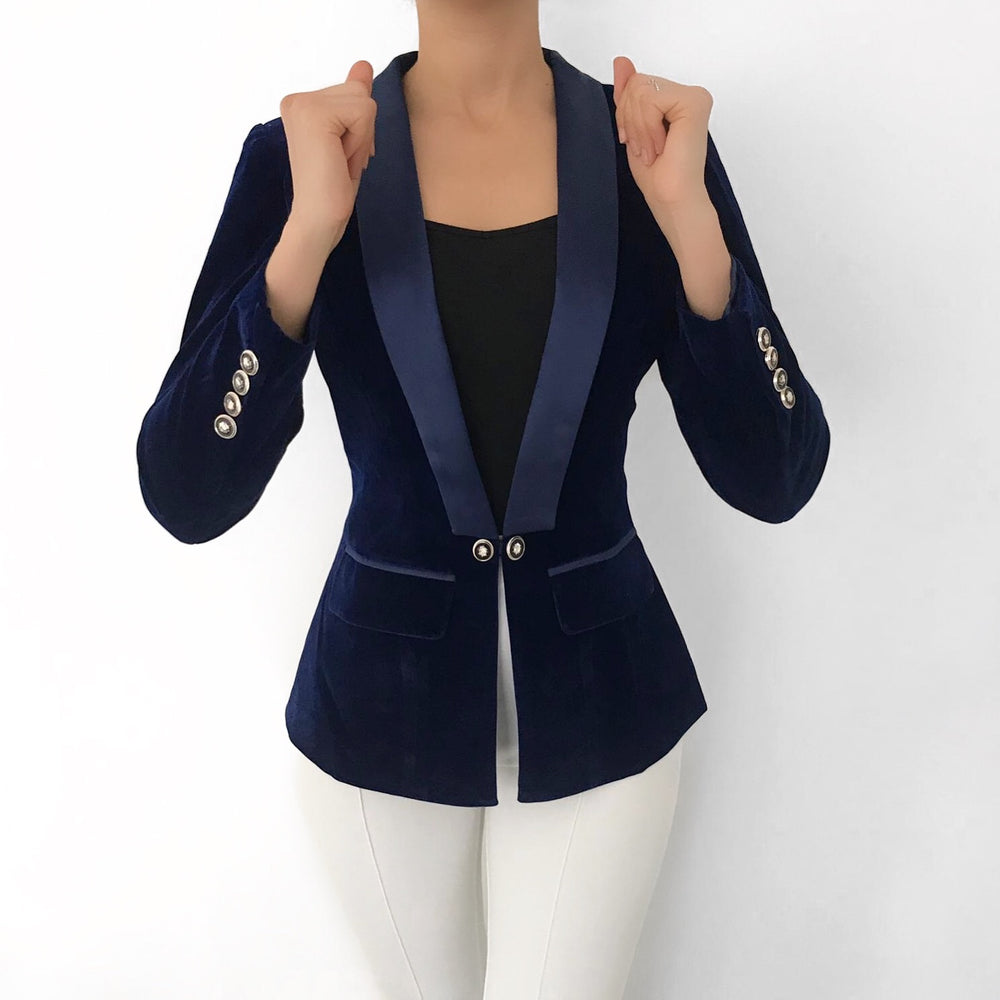 NAVY BLUE VELVET BLAZER WITH SATIN COLLAR