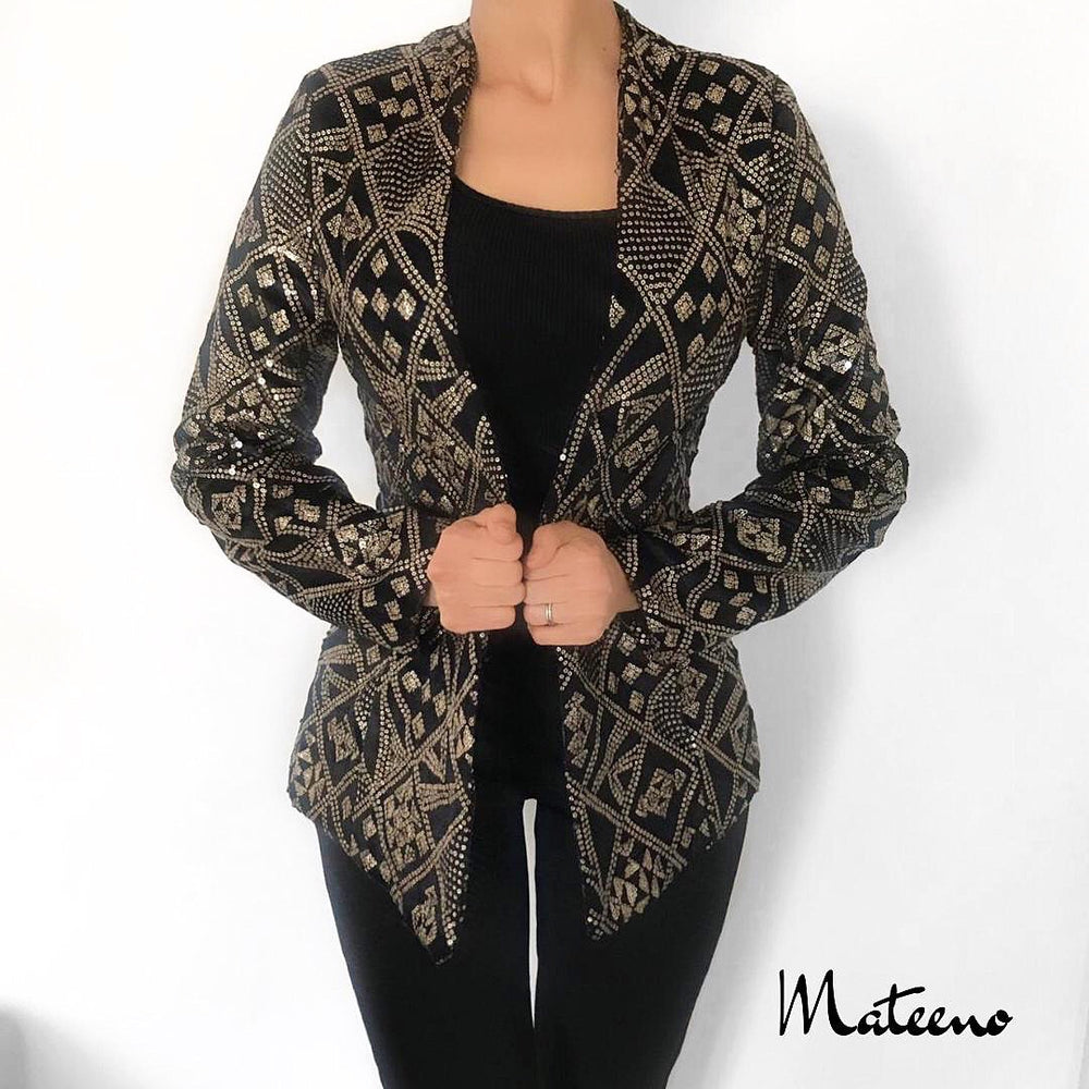 GOLD SEQUIN EMBELLISHED BLAZER