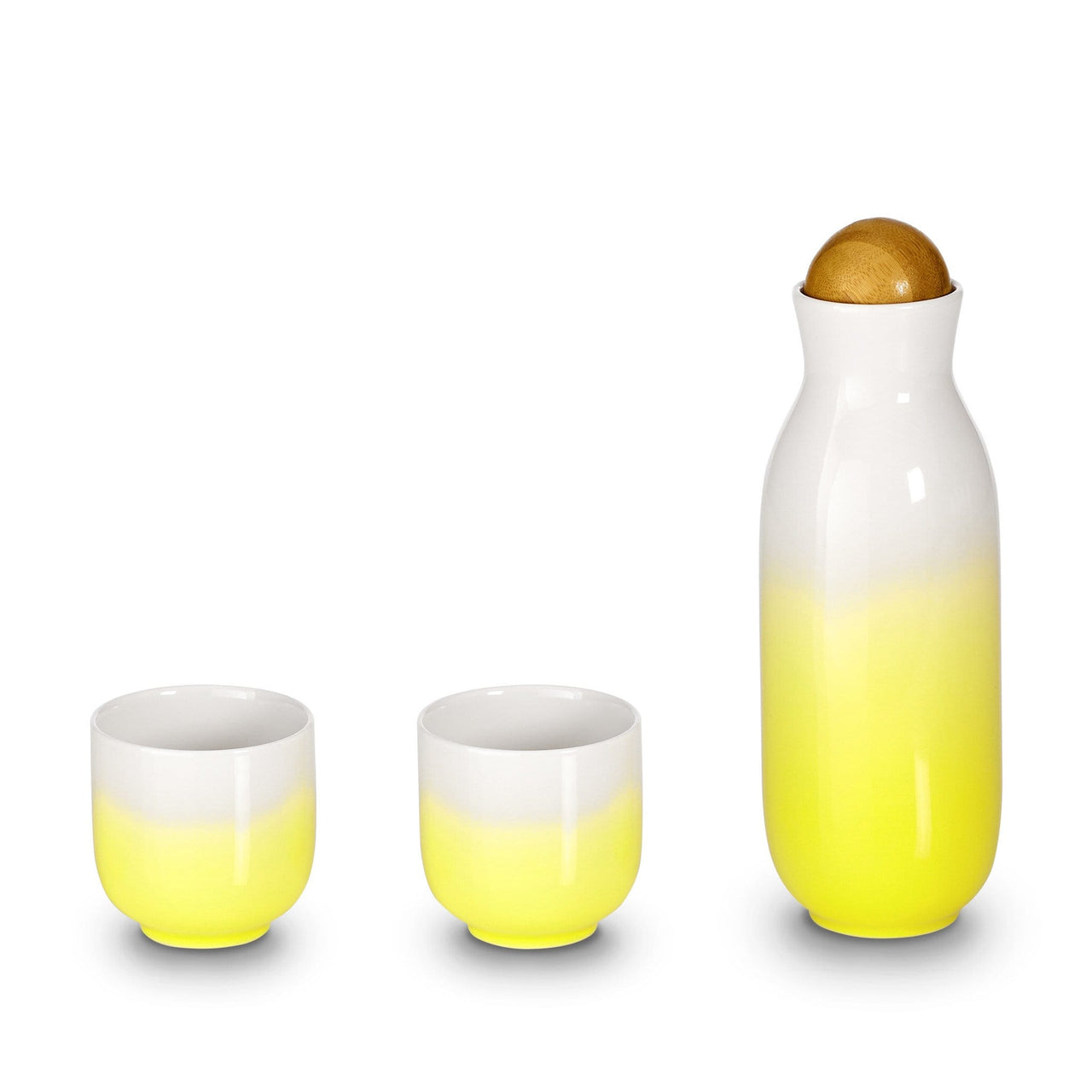 Acera Liven Coffee & Tea Accessories Lemon  Ombre Bloom Carafe Tea Cups Set