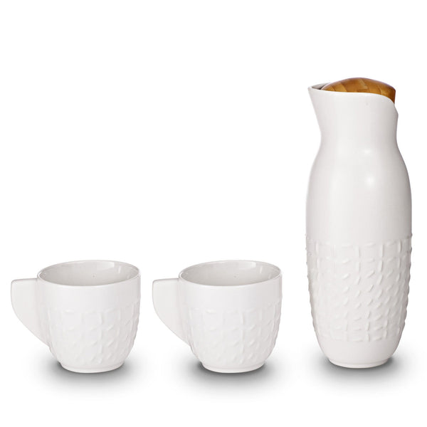 Acera Liven Coffee & Tea Accessories White Footprint Carafe With Handles Set