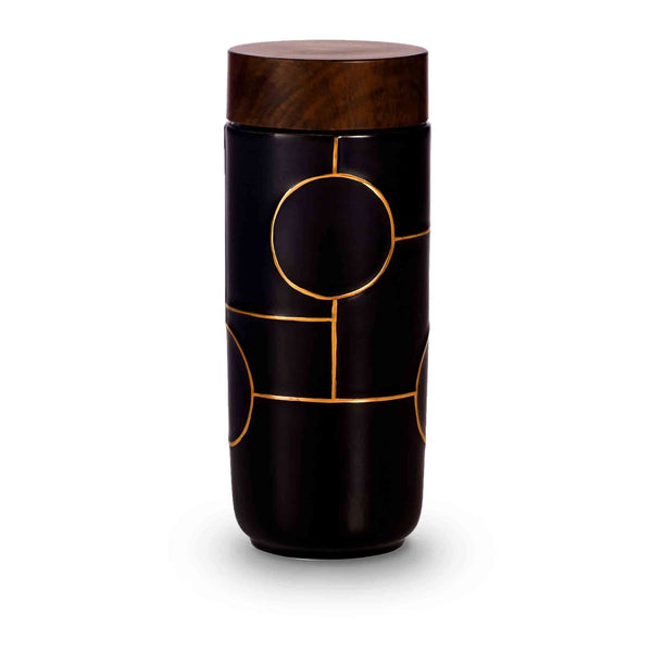 Acera Liven Flasks & Water Bottles Black + Golden Line (Hand Painted) The Dream Ceramic Tumbler