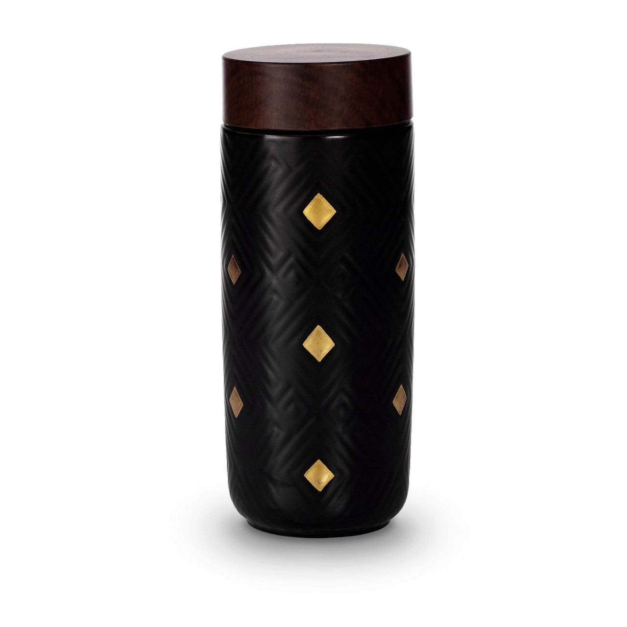 Acera Liven Flasks & Water Bottles Black + Hand-painted Golden Dimond Checks The Miracle Gold Ceramic Tumbler