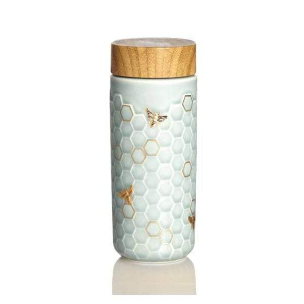 Acera Liven Flasks & Water Bottles Mint Green + Hand-Painted  Gold Honey Bee Gold Ceramic Tumbler