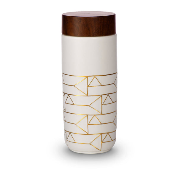 Acera Liven Flasks & Water Bottles White + Golden Line (Hand Painted) / Horizontal The Alchemical Signs Gold Ceramic Tumbler