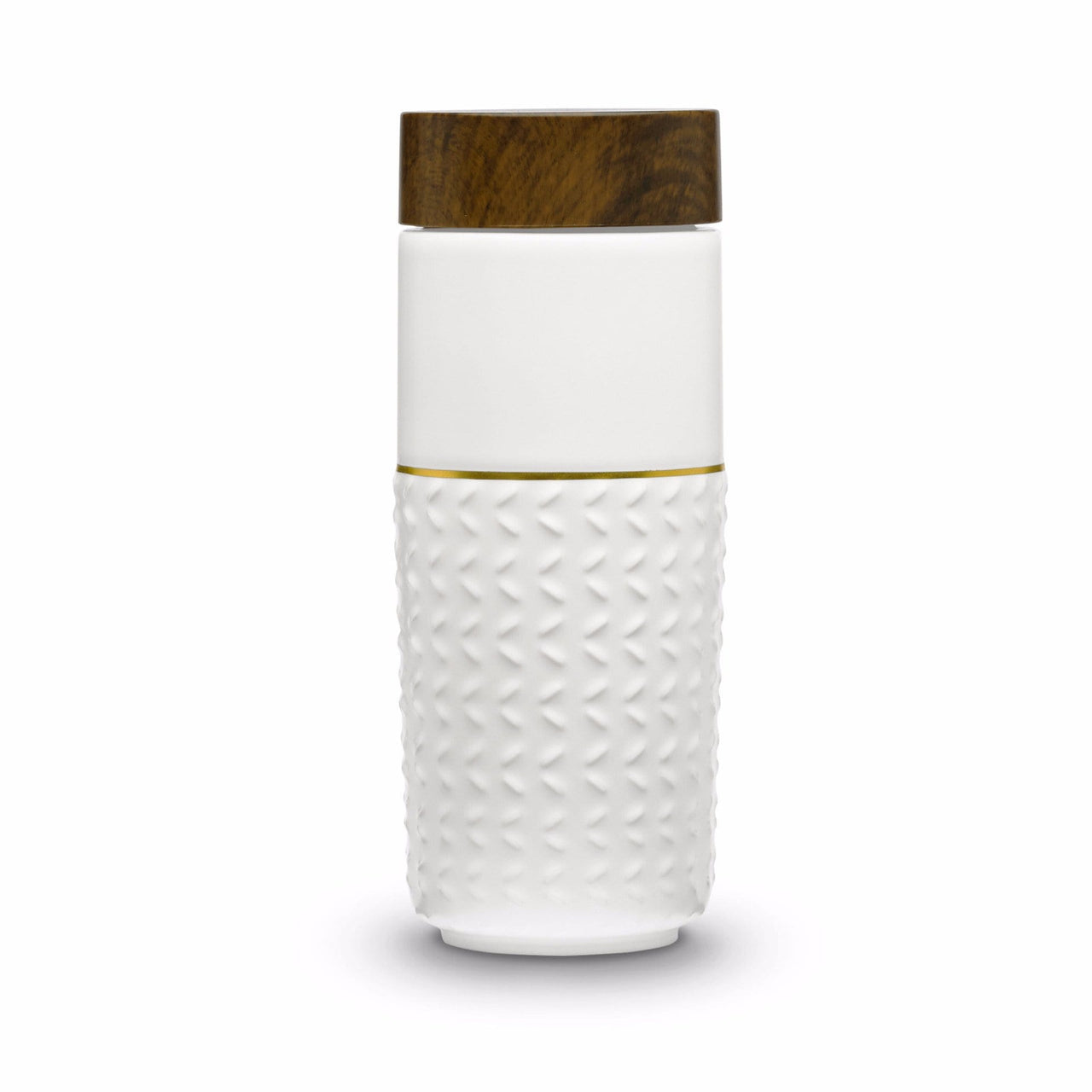 Acera Liven Flasks & Water Bottles White + Golden Line (Hand Painted) One-O-One Free Soaring Gold Line Tumbler