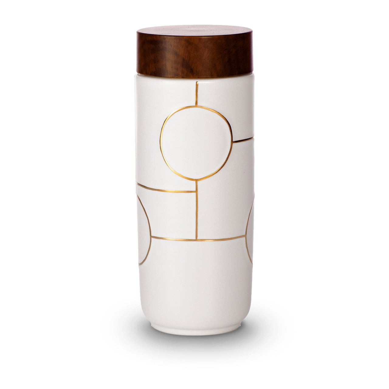 Acera Liven Flasks & Water Bottles White + Golden Line (Hand Painted) The Dream Ceramic Tumbler