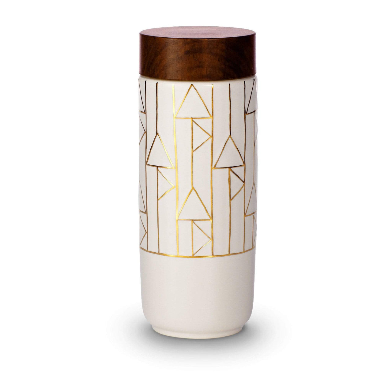 Acera Liven Flasks & Water Bottles White + Golden Line (Hand Painted) / Vertical The Alchemical Signs Gold Ceramic Tumbler