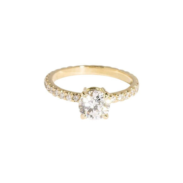 AMARILO Rings Classic Round Solitaire Pavé Ring