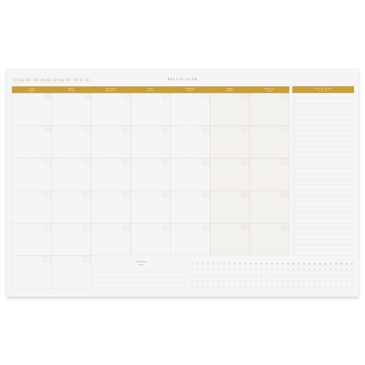 Baltic Club Calendars & Planners Monthly Planner Desk Pad - Amber