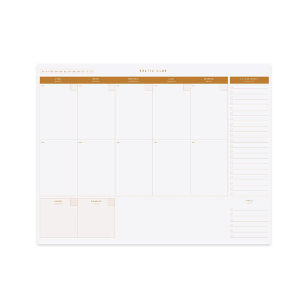 Baltic Club Calendars & Planners Weekly Planner Sepia Desk Pad