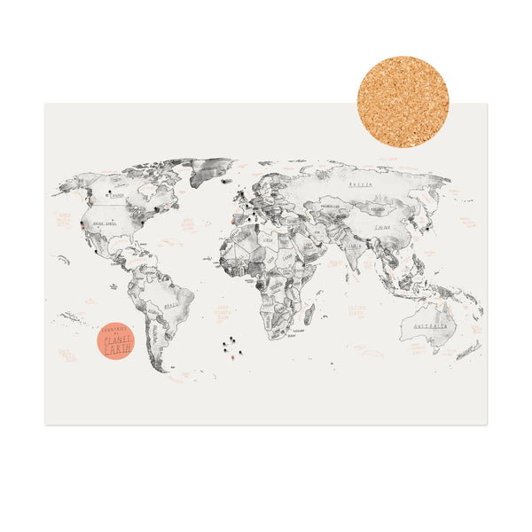 Baltic Club Photography & Prints World Map on Cork + Push Pins