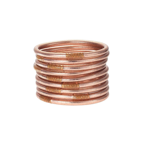 BuDhaGirl Bracelets All Weather Serenity Prayer Bangles (Rose Gold)