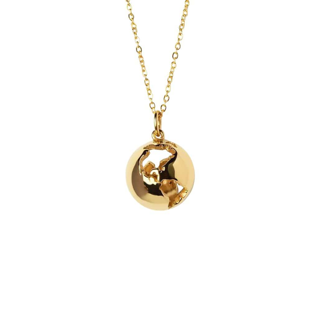 CRISTINA RAMELLA Necklaces 24K Gold Plated World Globe Pendant Necklace
