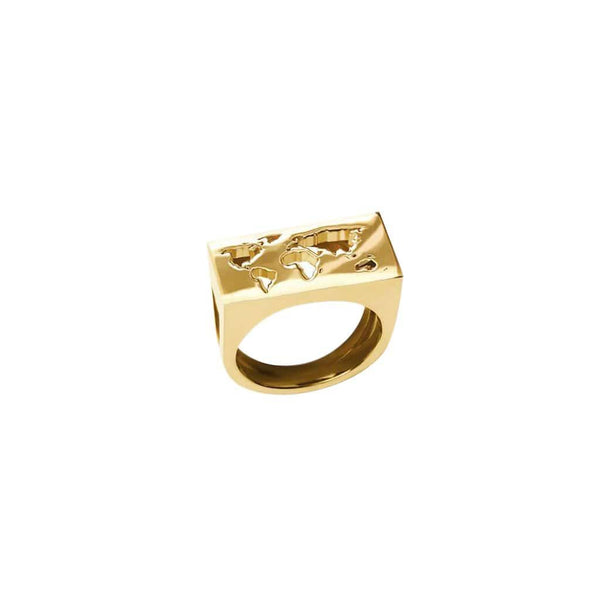 CRISTINA RAMELLA Rings 6 / Gold Plated World Map Ring