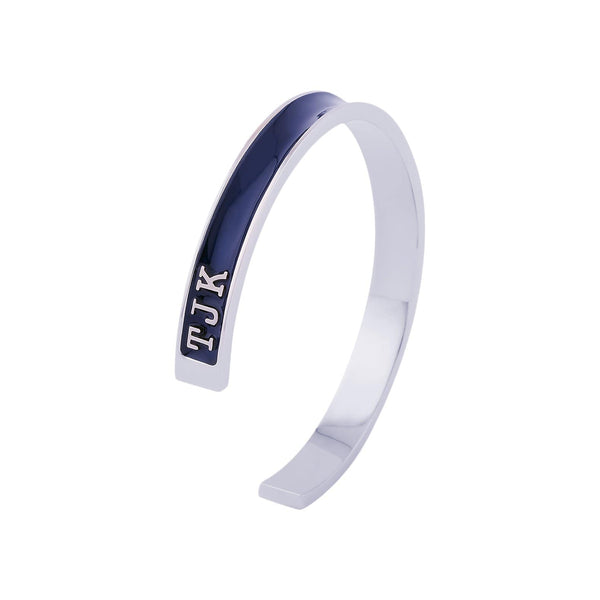 Florence London Bracelets Navy with Silver Trim Men's Signature Bracelet Personalized with Dates or Initials