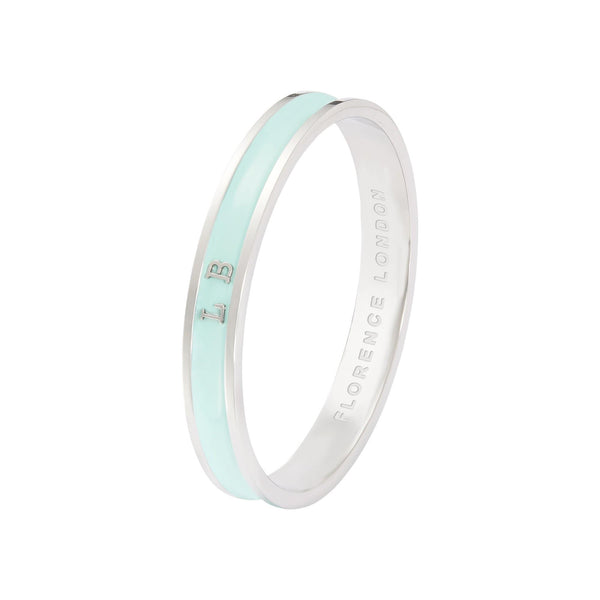 Florence London Bracelets Turquoise with Silver Trim / 59mm inner diameter Signature Bangle Personalized With Names Dates Initials