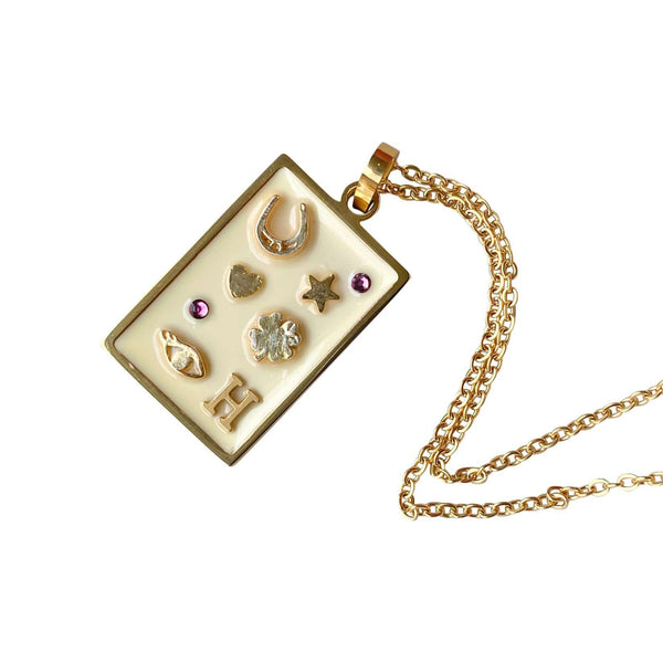 Florence London Necklaces Cream & Gold / January Love & Luck Necklace with Birthstones and Initials