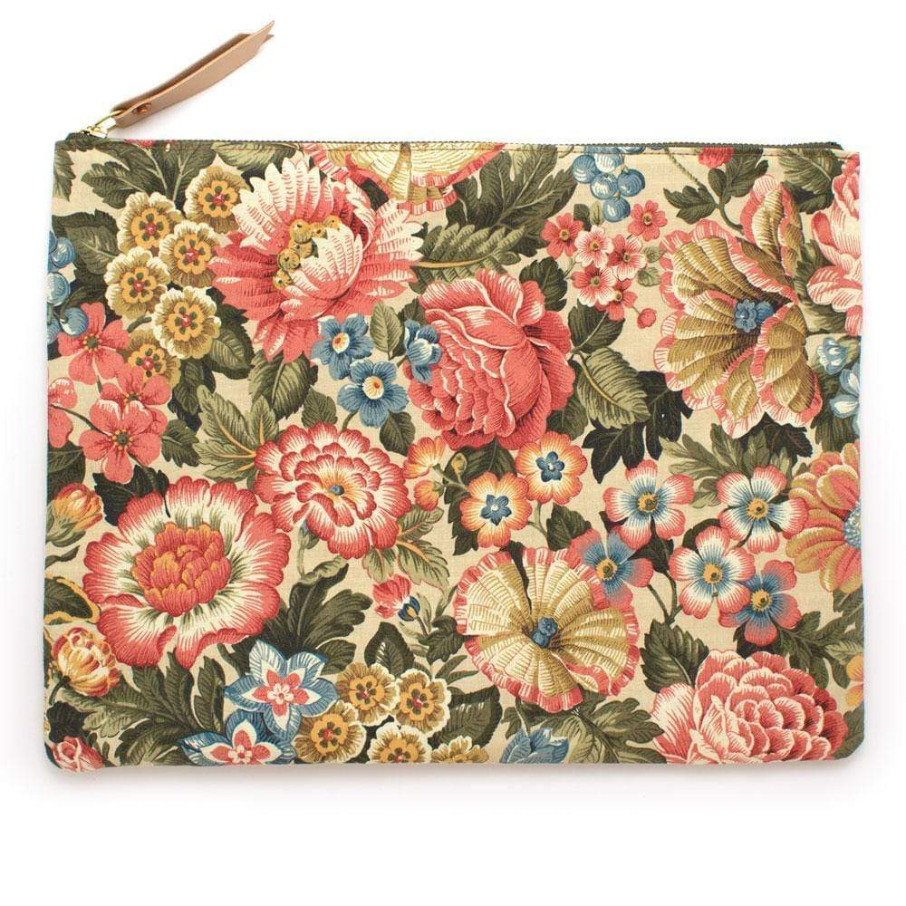 "General Knot & Co. Tech Cases One Size- 14.5""x 11.25"" / Multi/Natural Vintage Cornwall Floral and Natural Basket Large Laptop & Carryall"