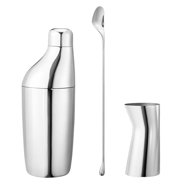 Georg Jensen Bar Accessories Sky Stainless Steel Set - Shaker, Stirring Spoon & Jigger