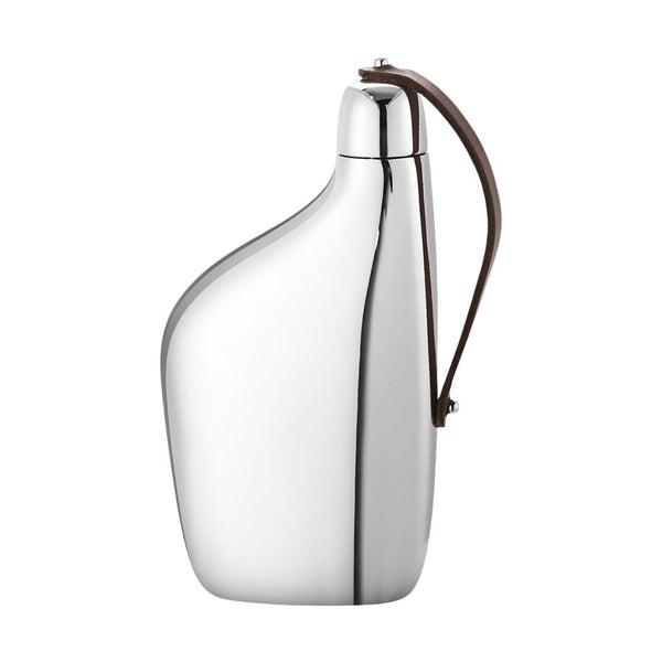 Georg Jensen Flasks Sky Stainless Steel & Leather Hip Flask