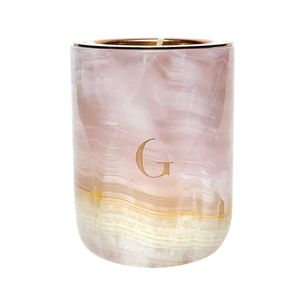 Gilded Candles & Diffusers Pink Onyx Marble Candle