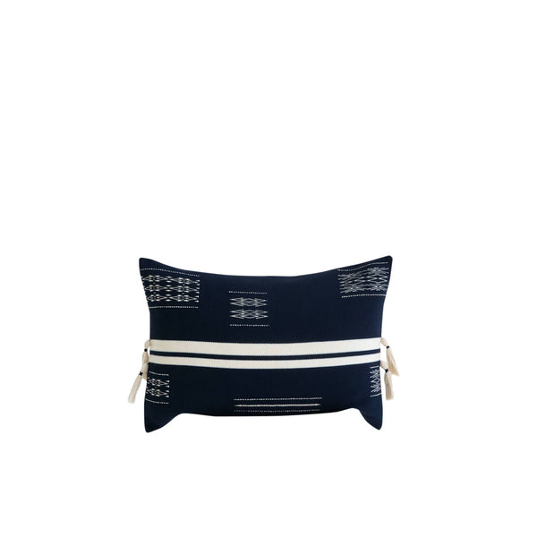 KARU Cushions & Throws Nagaland Bolster Cushion in Midnight and Ivory