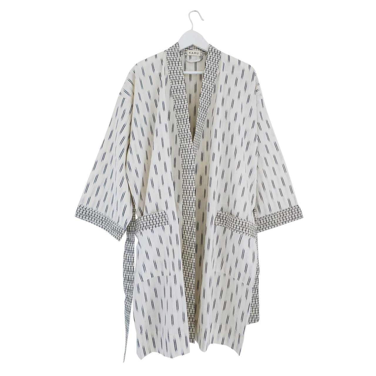 KARU Sleepwear Ikat Robe in Ivory