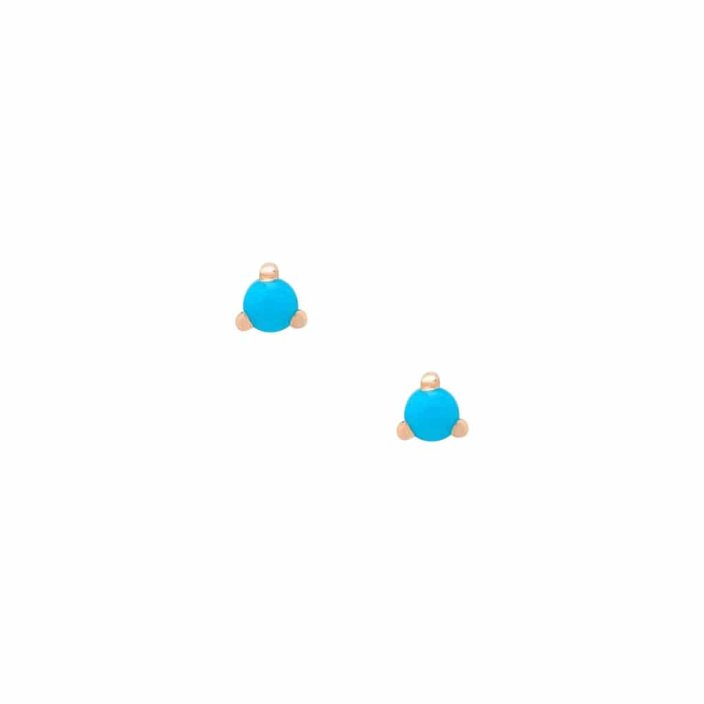 KIMBERLY DOYLE JEWELRY Earring 14k Rose Turquoise Stud