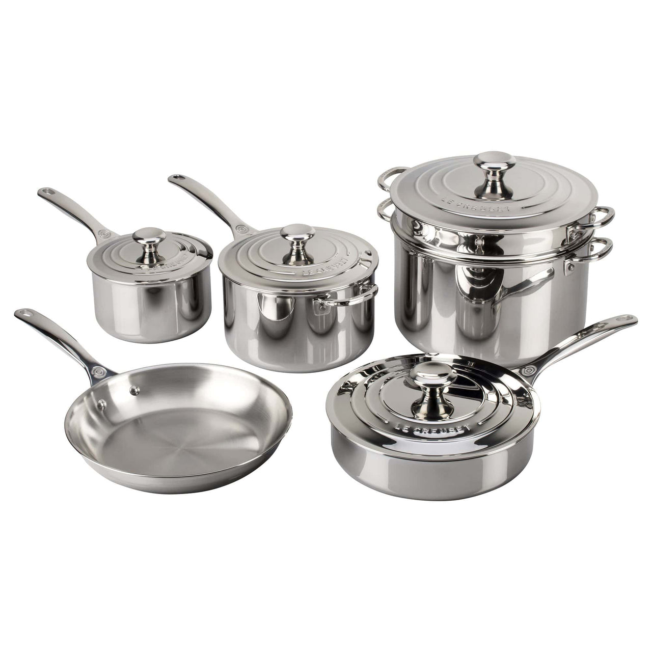 Le Creuset Cookware Stainless Steel 10-Piece Cookware Set