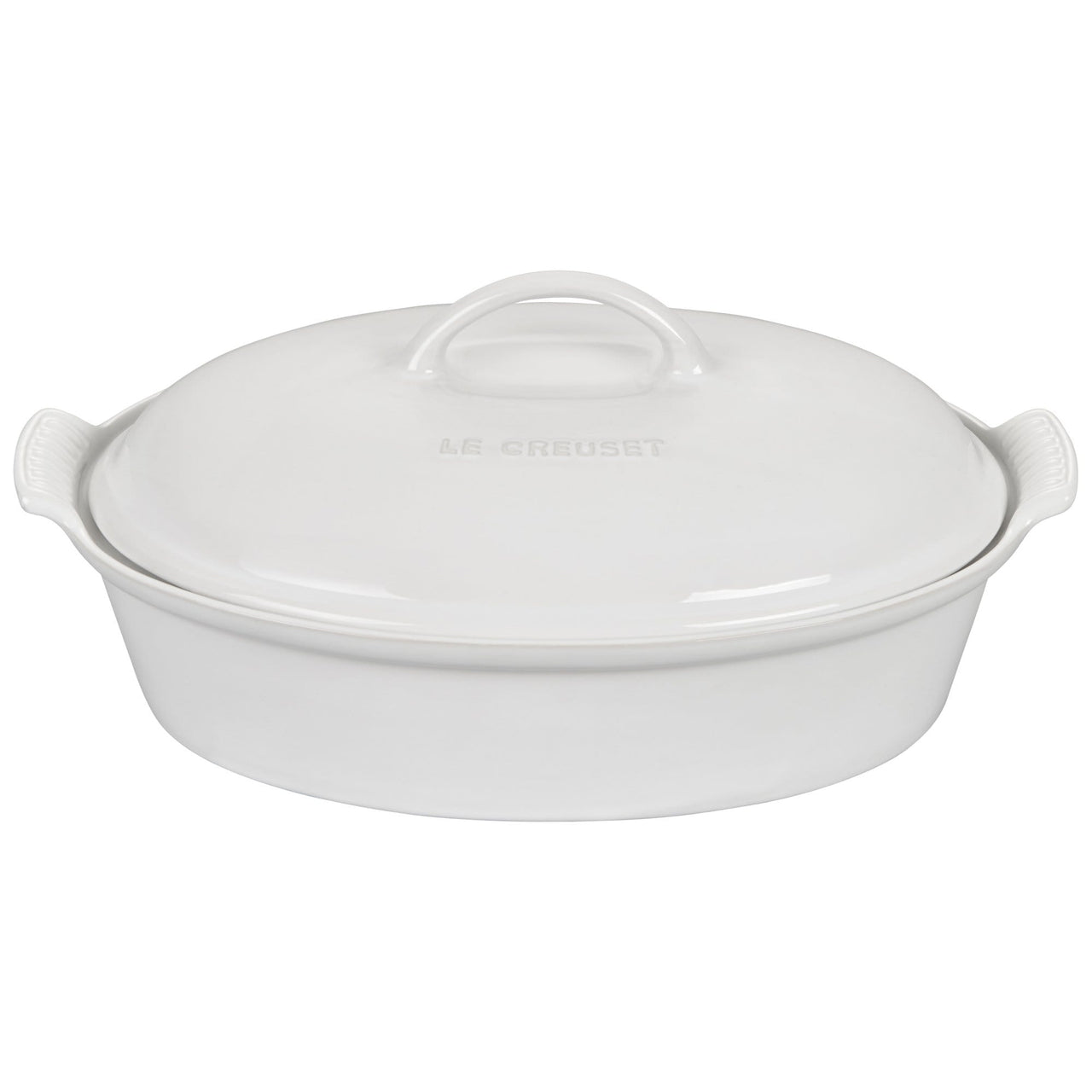 Le Creuset Cookware White Heritage 4-qt Covered Oval Casserole