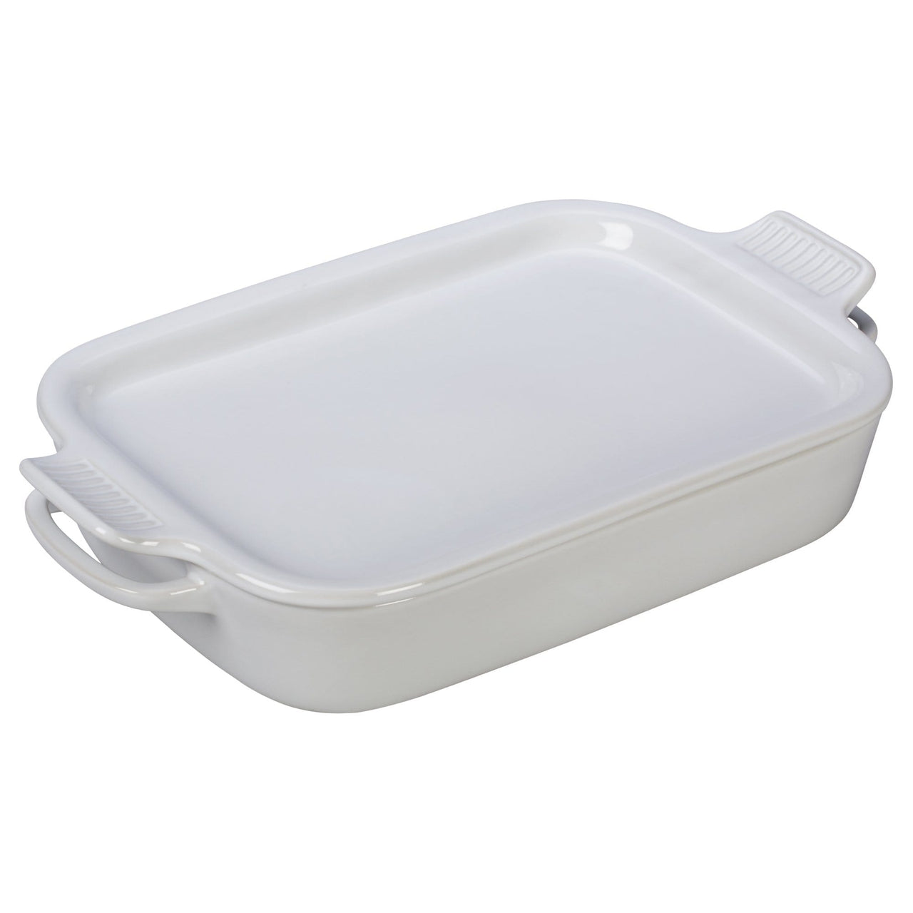 Le Creuset Cookware White Rectangular Dish with Platter Lid