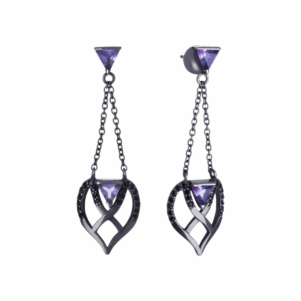 Mel Bandeira Earrings Black Rhodium Plated Silver Double Bow Earrings with Amethyst and Black Spinel