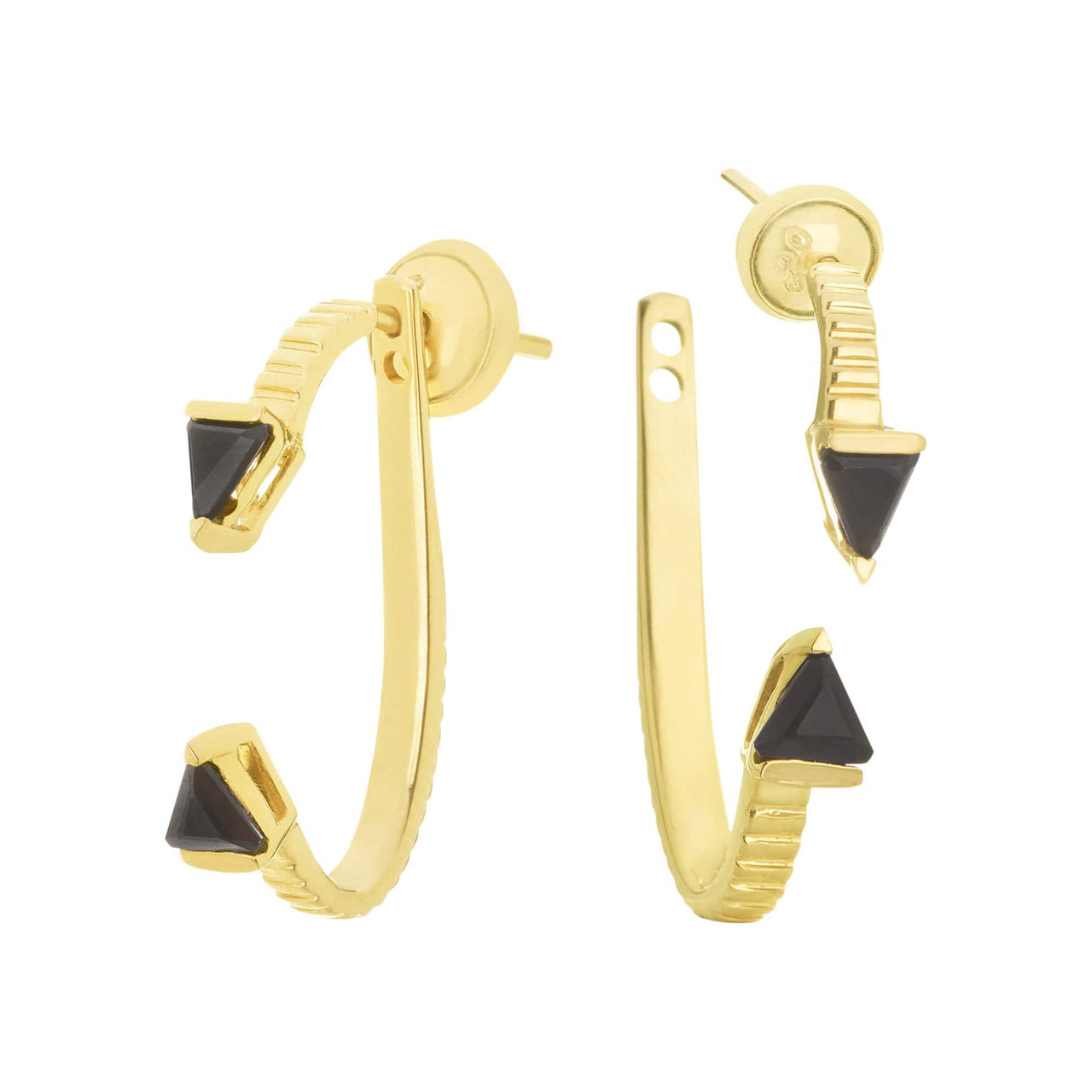 Mel Bandeira Earrings Gold Plated Arrow Earrings with Onyx