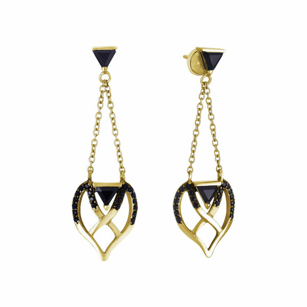 Mel Bandeira Earrings Gold Plated Silver Double Bow Earrings with Onyx and Spinel