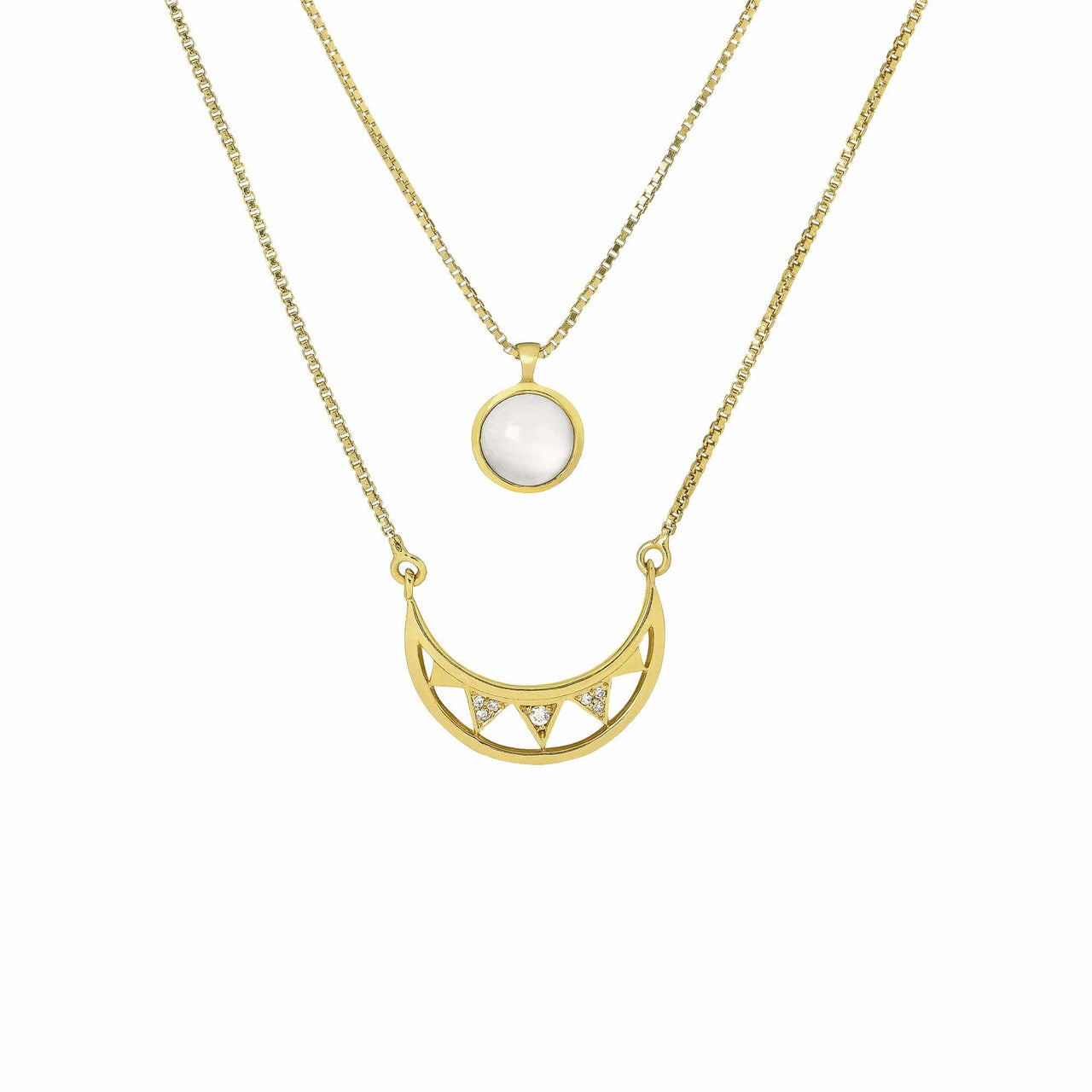 Mel Bandeira Necklaces 18K Gold Plated Sterling Silver Crescent Moon Double Layered Necklace
