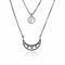 Mel Bandeira Necklaces Black Rhodium Plated Sterling Silver Crescent Moon Double Layered Necklace