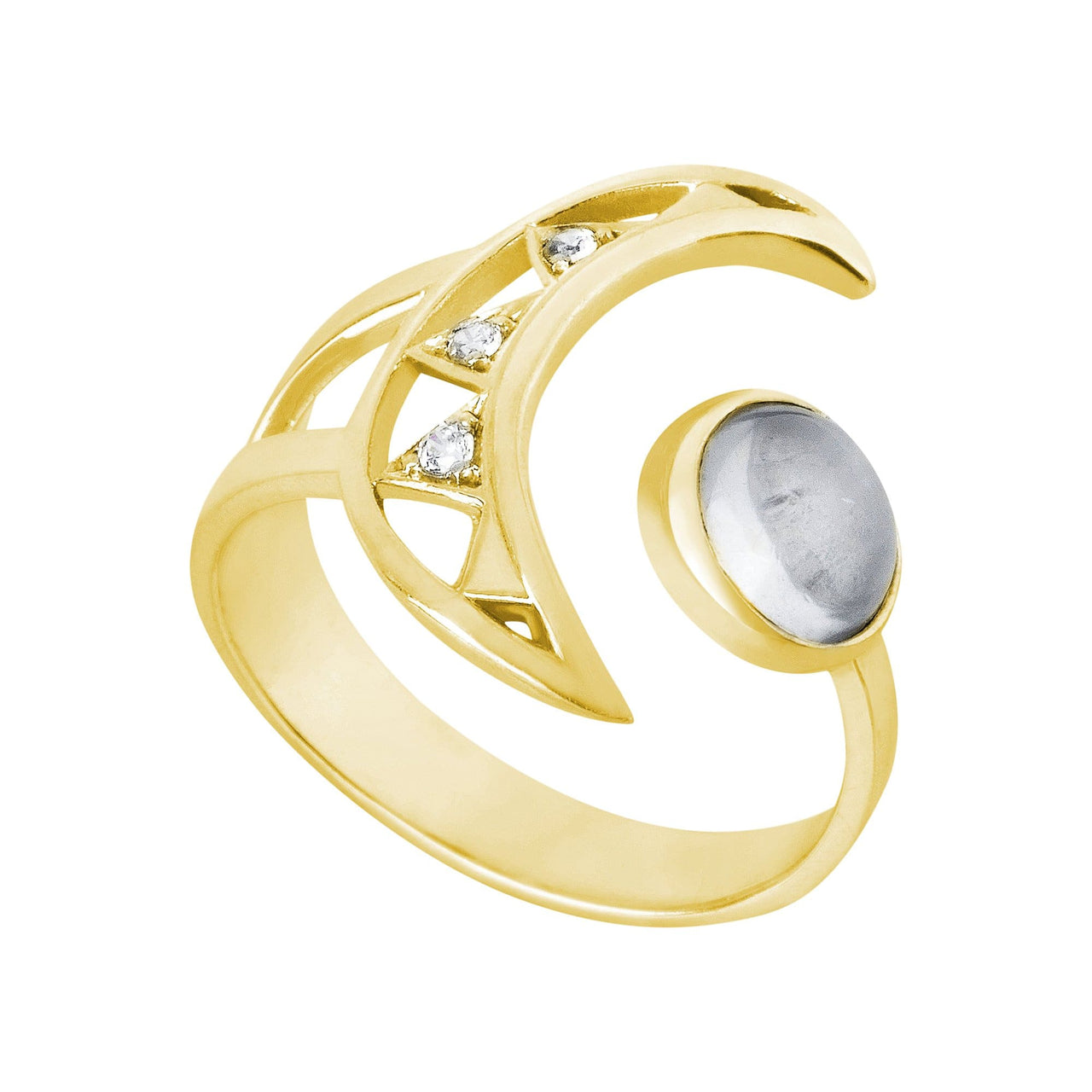 Mel Bandeira Rings Crescent Moon Gold Plated Sterling Silver Ring