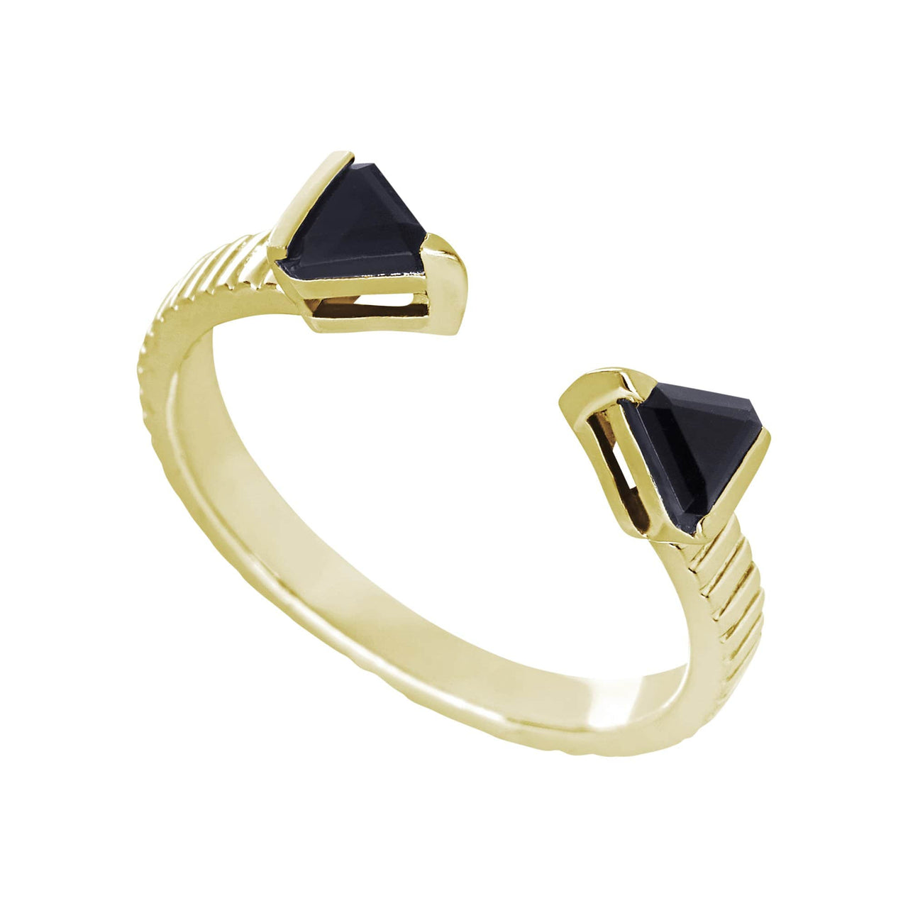 Mel Bandeira Rings Gold Plated Arrow Ring with Onyx