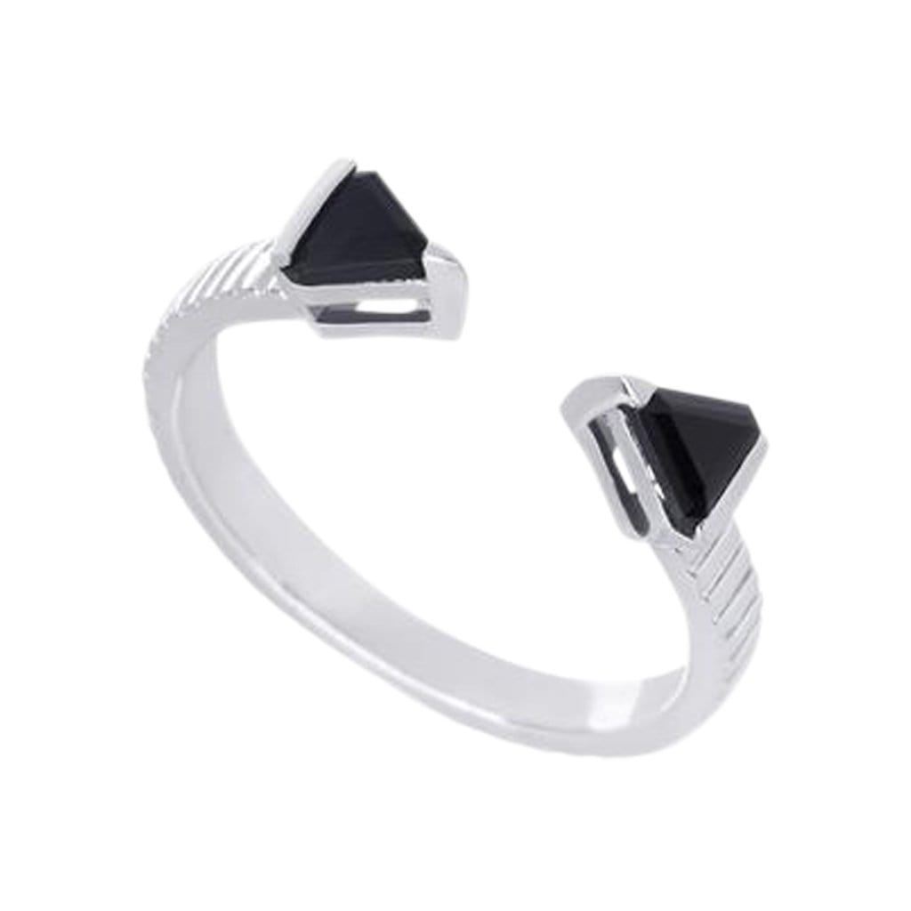 Mel Bandeira Rings Sterling Silver Arrow Ring with Onyx