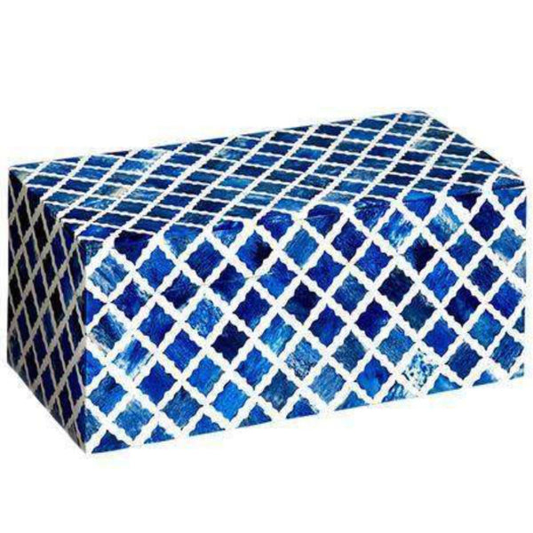 Mela Artisans Boxes & Baskets Small Fantasy Box in Indigo & White, Small