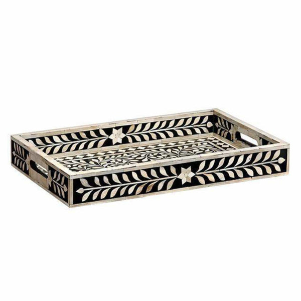 Mela Artisans Trays Imperial Beauty Tray in Black & White, Large