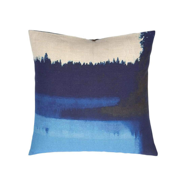 Michele Varian Cushions & Throws Default Printed Linen Pillow Lake Mist Blue