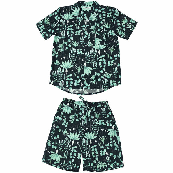 Phriya Sleepwear Men's Navy Blue Circe's Garden Short Pajama Set