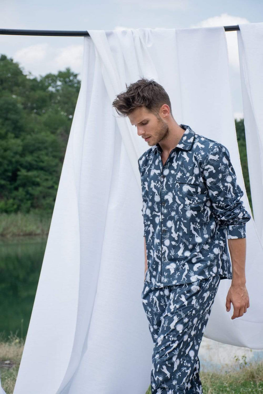 Phriya Sleepwear Men's Navy Blue Odyssey Long Pajama Set