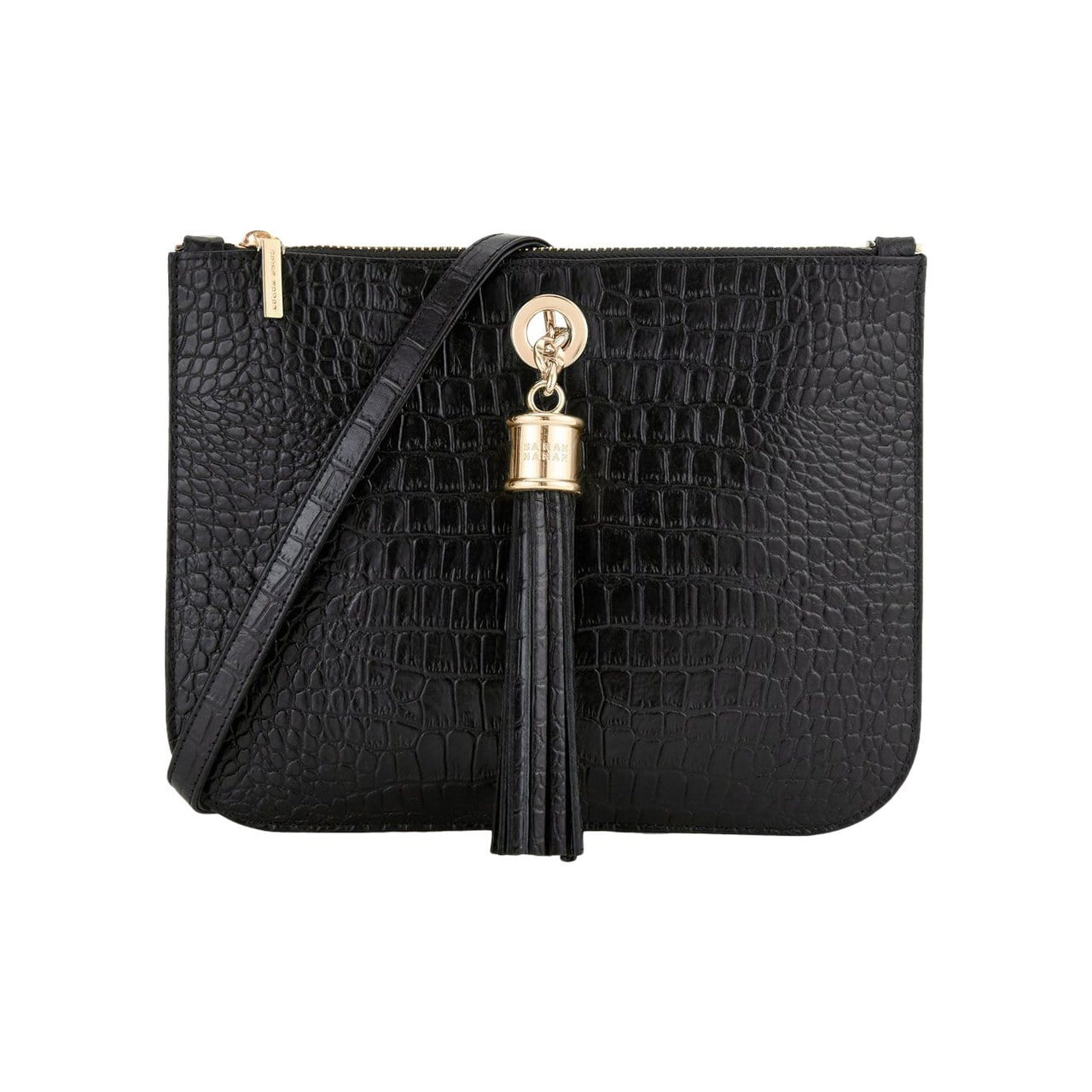Sarah Haran Shoulder, Crossbody & Belt Bags Black Moc Croc / Gold Ivy Mini Bag - Leather Strap
